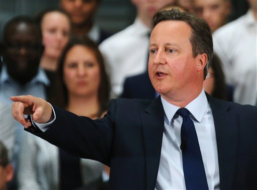 Britain's Prime Minister David Cameron holds a Q&A with employees at PricewaterhouseCoopers in Birmingham, central England Tuesday April 5, 2016 ahead of the EU referendum, British Prime Minister David Cameron was under pressure Tuesday April 5, 2016 to c