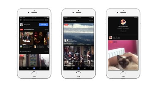 This image provided by Facebook shows examples of its live video feature on the smartphones. Facebook is rearranging the notification panel on its mobile apps in an effort to widen the audience watching live video on its social network.