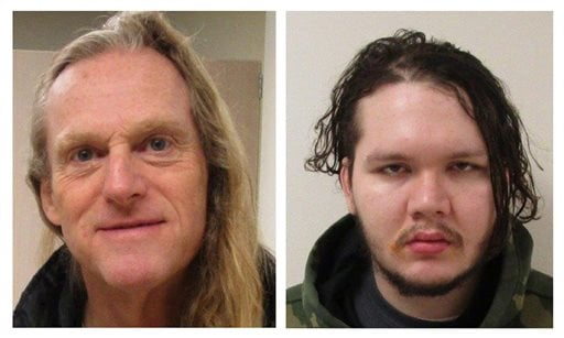 These undated photos provided by the Lakewood Police Department shows Mark Alexander Adams, left, and Anthony Garver.