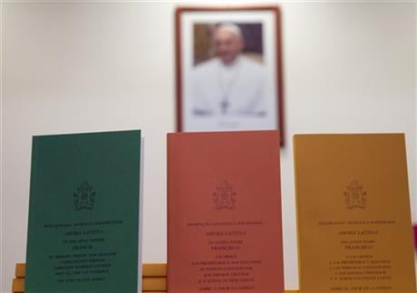 """In the 256-page document """"The Joy of Love,"""" released Friday, Francis makes no change in church doctrine. (AP Photo/Andrew Medichini)"""