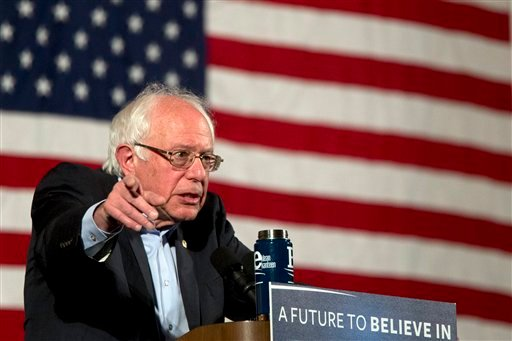Democratic presidential candidate Sen. Bernie Sanders, I-Vt., speaks during a campaign event, Saturday, April 9, 2016, in the Washington Heights neighborhood of New York.