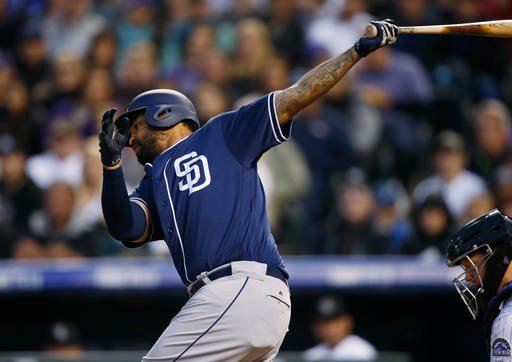 San Diego Padres' Matt Kemp follows through with his swing after connecting for a three-run home run off Colorado Rockies starting pitcher Jorge De La Rosa in the fourth inning of a baseball game Saturday, April 9, 2016, in Denver. (AP Photo/David Zalubow