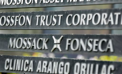 In this April 4, 2016 file photo, a marquee on a building in Panama City, Panama, lists the Mossack Fonseca law firm, one of the leaders in setting up offshore bank accounts for the rich and powerful. Offshore accounts conjure up images of malicious misde