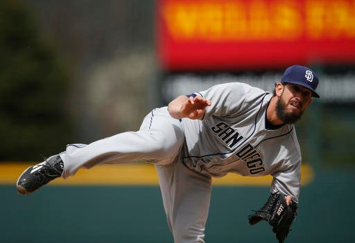 San Diego Padres starting pitcher James Shields delivers a pitch against he Colorado Rockies in the first inning of a baseball game, Sunday, April 10, 2016, in Denver. (AP Photo/David Zalubowski)