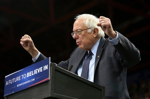Democratic presidential candidate, Sen. Bernie Sanders, I-Vt. speaks at a campaign rally, Monday, April 11, 2016, in Binghamton, N.Y. Sanders may be behind when it comes to delegates and votes, but he has one clear advantage over his Democratic and Republ