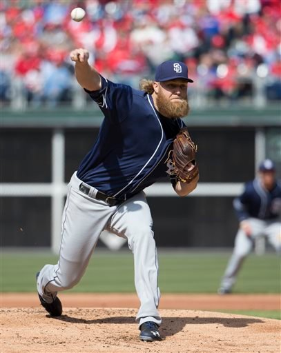 San Diego Padres starting pitcher Andrew Cashner (34) throws a pitch during the first inning of an opening day baseball game against the Philadelphia Phillies, Monday, April 11, 2016, in Philadelphia. (AP Photo/Chris Szagola)