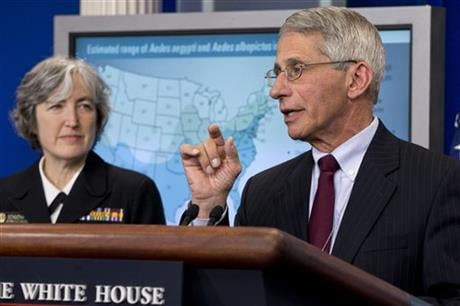 Dr. Anthony Fauci, director of NIH/NIAID, right, with Dr. Anne Schuchat, principal deputy director of the Center for Disease Control, speaks about the Zika virus during a news briefing at the White House in Washington, Monday, April 11, 2016. (AP Photo/Ja