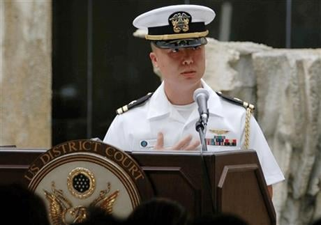 U.S. Navy, Lt. Edward Lin, a native of Taiwan speaks. The U.S. military has charged Lin with espionage for allegedly passing military secrets to China or Taiwan, U.S. defense officials said Monday, April 11, 2016. (U.S. Navy/MC1 Sarah Murphy via AP)