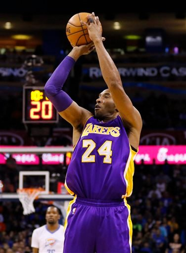 Los Angeles Lakers forward Kobe Bryant shoots against the Oklahoma City Thunder during the first half of an NBA basketball game in Oklahoma City, Monday, April 11, 2016.
