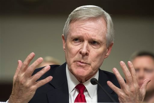 In this Feb. 2, 2016 file photo, Navy Secretary Ray Mabus Jr. gestures while testifying on Capitol Hill in Washington, before the Senate Armed Services Committee.