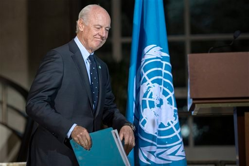 Staffan de Mistura, UN Special Envoy of the Secretary-General for Syria, arrives to a media conference after a new round of negotiations between the Syrian opposition delegation of High Negotiations Committee (HNC), at the European headquarters of the Uni