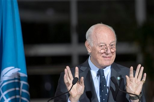 Staffan de Mistura, UN Special Envoy of the Secretary-General for Syria, speaks to the media after a new round of negotiations between the Syrian opposition delegation of High Negotiations Committee (HNC), at the European headquarters of the United Nation
