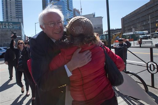 Democratic presidential candidate, Sen. Bernie Sanders, I-Vt., greets a CWA worker as he arrives to join a Verizon workers picket line, Wednesday, April 13, 2016, in the Brooklyn borough of New York. (AP Photo/Mary Altaffer)