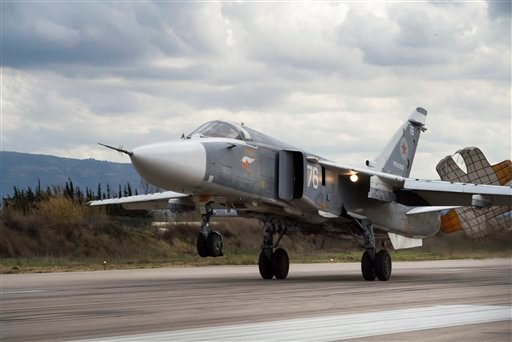 In this Jan. 20, 2016 file photo, a Russian Su-24 bomber lands at Hemeimeem air base in Syria.