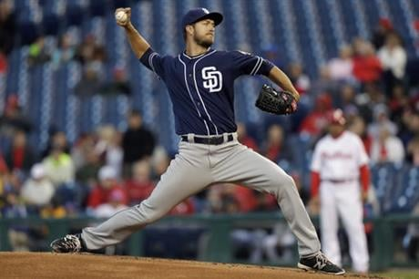 San Diego Padres' Colin Rea pitches during the first inning of a baseball game against the Philadelphia Phillies, Wednesday, April 13, 2016, in Philadelphia. (AP Photo/Matt Slocum)