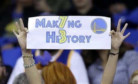 The Warriors had 72 wins heading into their final regular-season game, the same number of wins as the 1995-1996 Chicago Bulls. (AP Photo/Marcio Jose Sanchez)