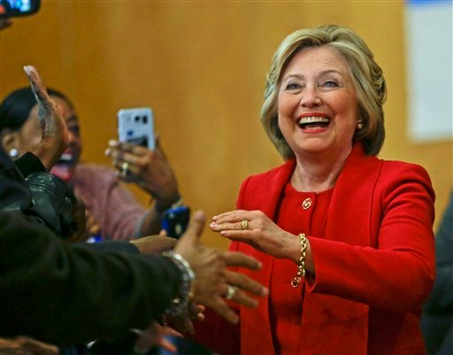 Democratic presidential candidate Hillary Clinton is greeted by supporters Wednesday, April 13, 2016, in the Bronx borough of New York.