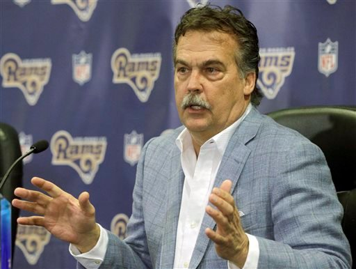 In this March 4, 2016, file photo, Los Angeles Rams head coach Jeff Fisher responds to a question during a NFL football news conference in Manhattan Beach, Calif.