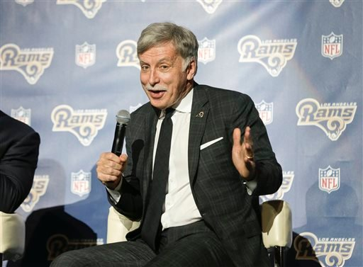 In this Jan. 15, 2016 file photo, St. Louis Rams owner Stan Kroenke takes questions from the media at a news conference at The Forum in Inglewood, Calif.
