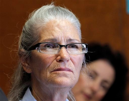 In this June 5, 2013, file photo, Leslie Van Houten appears during her parole hearing at the California Institution for Women in Chino, Calif. The youngest of Charles Manson's followers to take part in one of the nation's most notorious killings is tryin