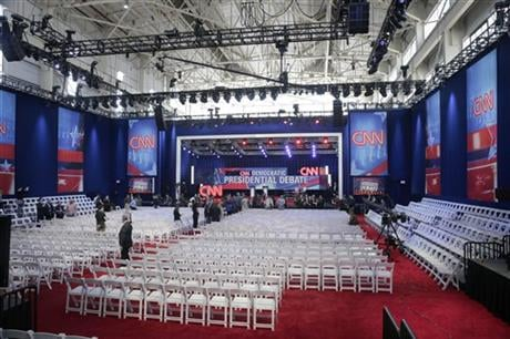 The stage for the CNN Democratic Presidential Primary Debate between Sen. Bernie Sanders, I-Vt, and Hillary Clinton, is shown during a preview at the Brooklyn Navy Yard on Thursday, April 14, 2016 in New York. (AP Photo/Peter Morgan)