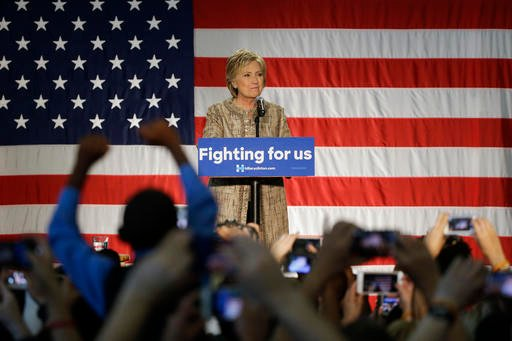 Democratic presidential candidate Hillary Clinton speaks at a campaign event held at Los Angeles Southwest College on Saturday, April 16, 2016, in Los Angeles.