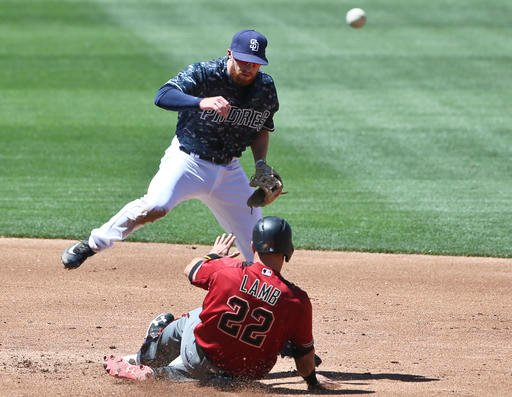 San Diego Padres second baseman Cory Spangenberg, top, hurdles Arizona Diamondbacks' Jake Lamb while throwing to first to complete a double play in the second inning of a baseball game Sunday, April 17, 2016, in San Diego. (AP Photo/Lenny Ignelzi)