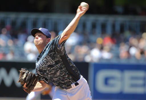 San Diego Padres starter Robbie Erlin works against the Arizona Diamondbacks in the first inning of a baseball game Sunday, April 17, 2016, in San Diego. (AP Photo/Lenny Ignelzi)