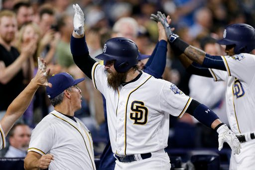 San Diego Padres' Derek Norris, center, is greeted by teammates after hitting a two-run home run during the fifth inning of a baseball game against the Pittsburgh Pirates.