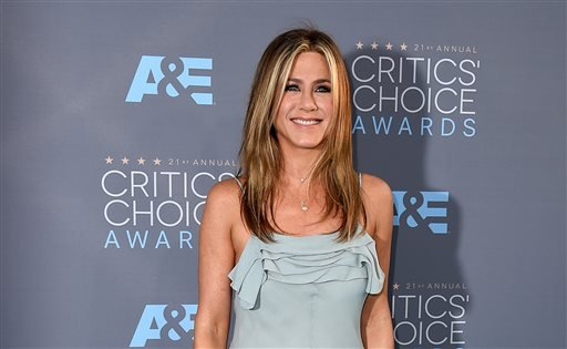 In this Jan. 17, 2016, file photo, Jennifer Aniston arrives at the 21st annual Critics' Choice Awards at the Barker Hangar in Santa Monica, Calif.