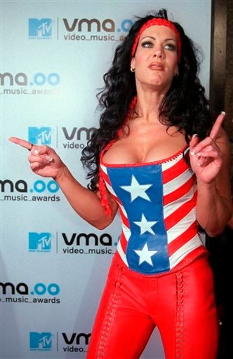 In this Sept. 7, 2000, file photo, WWF wrestler Chyna arrives for the 2000 MTV Video Music Awards, at New York's Radio City Music Hall.