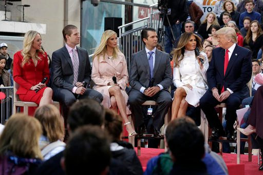 "Republican presidential candidate Donald Trump, right, appears with family members on the NBC ""Today"" television program, in New York, Thursday, April 21, 2016. His family, from left are: daughter Tiffany Trump, son Eric Trump, daughter Ivanka Trump, son"