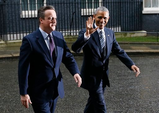 U.S President Barack Obama, right, and Britain's Prime Minister David Cameron walk from 10 Downing Street, London after a meeting Friday, April, 22, 2016.