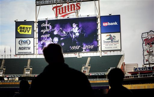 """Goodnight Sweet Prince"" read the display screens in Target Field in Minneapolis, Minn., Thursday, April 26, 2016, following the announcement of Prince's death."