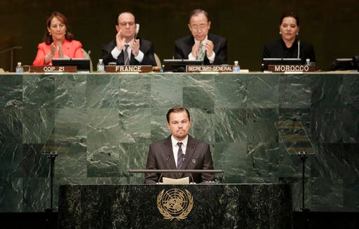 Actor Leonardo Di Caprio, a United Nations Messenger of Peace, speaks at the signing ceremony for the Paris Agreement on climate change, Friday, April 22, 2016 at U.N. headquarters.