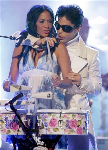 In this June 1, 2007 file photo, Prince performs with Sheila E during the 2007 National Council of La Raza ALMA Awards in Pasadena, Calif. Sheila E. (AP Photo/Mark J. Terrill, File)