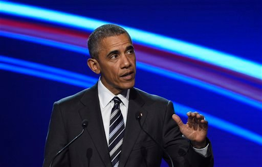 U.S. President Barack Obama delivers a speech during the opening of the Hannover Messe industry fair in Hannover, northern Germany, Sunday, April 24, 2016. Obama is on a two-day official visit to Germany. (AP Photo/Jens Meyer)