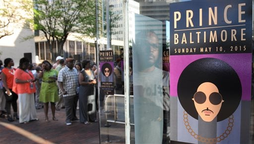 "In this May 10, 2015, file photo, fans line up outside Royal Farms Arena before Prince's Baltimore concert. Beyond dance parties and hit songs, Prince's legacy included black activism. He performed ""Baltimore"" in its namesake city shortly after Freddie Gr"