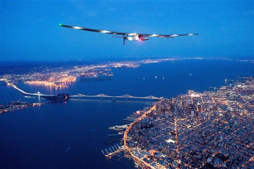 Solar Impulse 2 flies over San Francisco, Saturday, April 23, 2016. The solar-powered airplane, which is attempting to circumnavigate the globe to promote clean energy and the spirit of innovation, arrived from Hawaii after a three-day journey across the