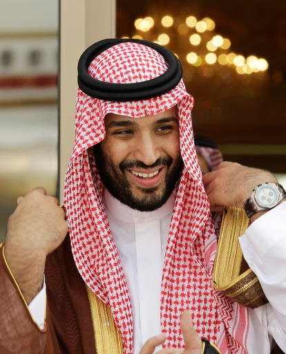 "In this Monday, May 14, 2012 file photo, Prince Mohammed bin Salman waits for Gulf Arab leaders ahead of the opening of Gulf Cooperation Council, as known as GCC summit, in Riyadh, Saudi Arabia. King Salman announced the approval for the ""Vision 2030"" pla"