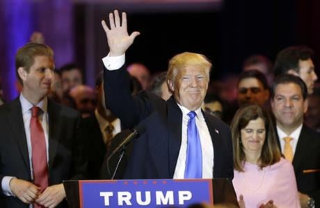 Republican presidential candidate Donald Trump waves after speaking during a primary night event Tuesday, April 26, 2016, in New York. (AP Photo/Julie Jacobson)