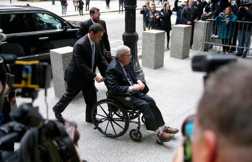 Former House Speaker Dennis Hastert arrives at the federal courthouse Wednesday, April 27, 2016, in Chicago.