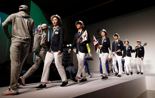South Korean Olympic athletes and models present the South Korean Olympic team uniforms for the 2016 Rio de Janeiro Olympic Games.