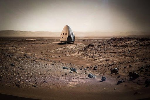 This artist rendering provided by SpaceX shows a Dragon capsule sitting on the surface of Mars. SpaceX is shooting for Mars. The company's billionaire founder and chief executive Elon Musk says he plans to send a Dragon capsule to the red planet as early