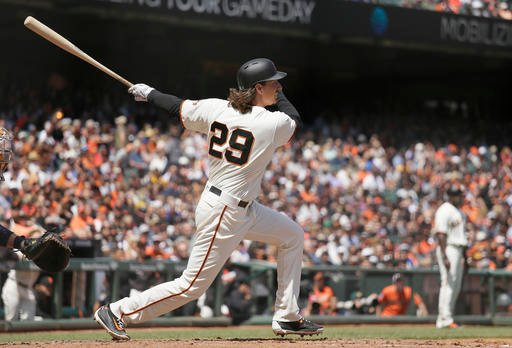 San Francisco Giants' Jeff Samardzija hits a two RBI single off San Diego Padres relief pitcher Michael Kirkman in the third inning of their baseball game Wednesday, April 27, 2016, in San Francisco. (AP Photo/Eric Risberg)