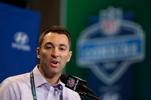 In this Feb. 25, 2016, file photo, San Diego Chargers general manager Tom Telesco speaks during a news conference at the NFL football scouting combine in Indianapolis.