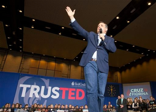 Republican presidential candidate speaks during a rally at the Century Center in South Bend, Ind. Thursday, April 28, 2016.