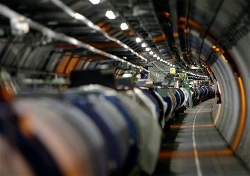 A May 31, 2007 file photo shows a view of the Large Hadron Collider in its tunnel at the European Particle Physics Laboratory, CERN, near Geneva, Switzerland. It's one of the physics world's most complex machines, and it has been immobilized — temporarily