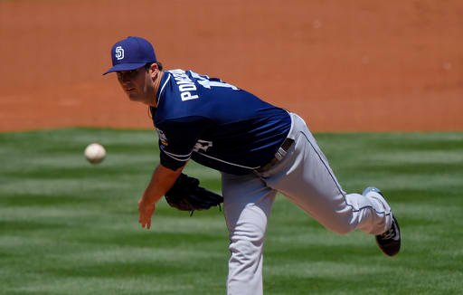 San Diego Padres starting pitcher Drew Pomeranz throws to the plate during the second inning of a baseball game against the Los Angeles Dodgers, Sunday, May 1, 2016, in Los Angeles. (AP Photo/Mark J. Terrill)
