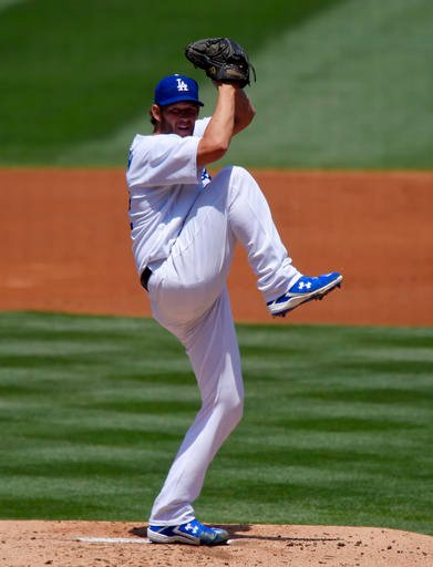 Los Angeles Dodgers starting pitcher Clayton Kershaw throws to the plate during the second inning of a baseball game against the San Diego Padres, Sunday, May 1, 2016, in Los Angeles. (AP Photo/Mark J. Terrill)